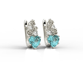 Diamonds & topaz blue in form the hearts, 14ct white gold earrings APK-53B