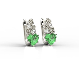 Diamonds & topaz green in form the hearts, 14ct white gold earrings APK-53B
