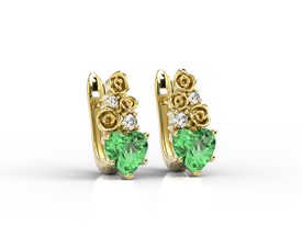 Diamonds & topaz green in form the hearts, 14ct yellow gold earrings APK-53Z