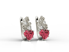 Diamonds & topaz red in form the hearts, 14ct white gold earrings APK-53B
