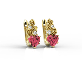 Diamonds & topaz red in form the hearts, 14ct yellow gold earrings APK-53Z
