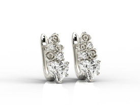Diamonds & topaz white in form the hearts, 14ct white gold earrings APK-53B