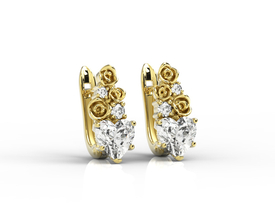 Diamonds & topaz white in form the hearts, 14ct yellow gold earrings APK-53Z