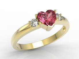 Diamonds & topaze red 14ct yellow gold ring in the shape of heart JP-90Z