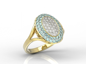 Diamonds & topazes 14ct gold ring AP-91ZR