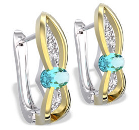 Diamonds & topazes 14ct white & yellow gold earrings LPK-39BZ