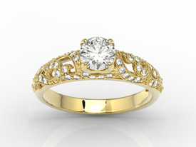 Diamonds & white sapphire 14ct yellow gold ring BP-50Z