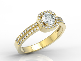 Diamonds & white sapphire 14ct yellow gold ring BP-52Z