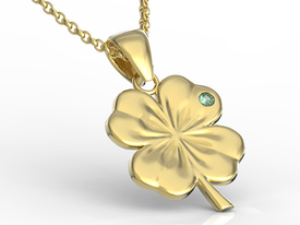 Emerald 14ct gold pendant in the shape of a clover BP-19Z