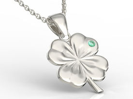 Emerald 14ct white gold pendant in the shape of a clover BP-19B