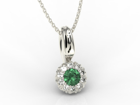 Emerald, 14ct white gold pendant with cubic zirconias APW-42B
