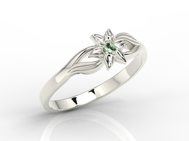 Emerald 14ct white gold ring BP-14B