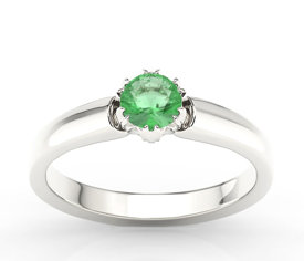 Emerald 14ct white gold ring BP-2130B