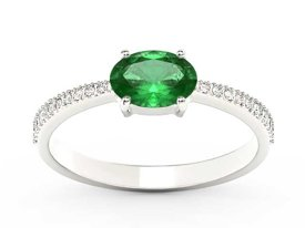 Emerald 14ct white gold ring with cubic zirconias BP-58B-C