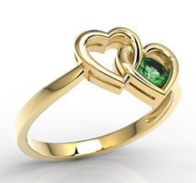 Emerald 14ct yellow gold ring LP-52Z