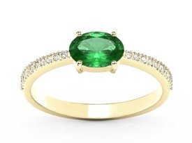 Emerald 14ct yellow gold ring with cubic zirconias BP-58Z-R-C