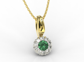 Emerald, 14ct yellow & white gold pendant with cubic zirconias APW-42ZB-C