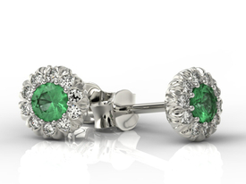 Emeralds 14ct white gold earrings with cubic zirconias APK-42B-C