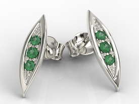 Emeralds 14ct white gold errings APK-97B