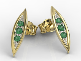 Emeralds 14ct yellow gold errings APK-97Z-R