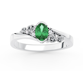 Enagagement diamonds & emerald 14ct white gold ring AP-39B