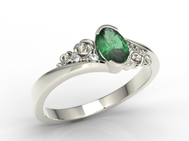 Enagagement diamonds & emerald 14ct white palladium gold ring AP-39B