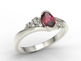 Enagagement diamonds & ruby 14ct white palladium gold ring AP-39B