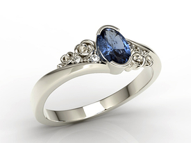 Enagagement diamonds & sapphire 14ct white palladium gold ring AP-39B