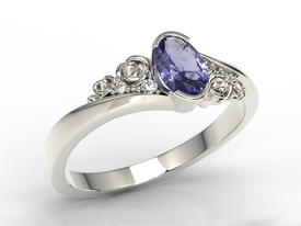 Enagagement diamonds & tanzanite 14ct white palladium gold ring AP-39B
