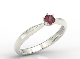 Enagagement ruby 14ct white gold ring AP-3620ZB