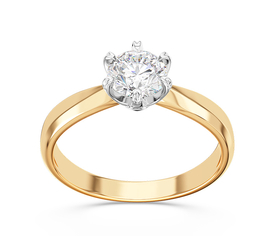 Engagement diamond ring with 14ct yellow & white gold AP-3668ZB