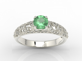 Engagement ring 14ct white gold, with emerald & cubic zirconias  BP-50B-C