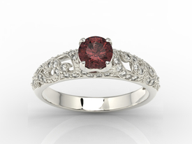 Engagement ring 14ct white gold, with garnet & cubic zirconias BP-50B-C