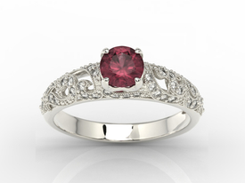 Engagement ring 14ct white gold, with ruby & cubic zirconias  BP-50B-C