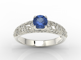 Engagement ring 14ct white gold, with sapphire & cubic zirconias  BP-50B-C