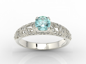 Engagement ring 14ct white gold, with topaz & cubic zirconias  BP-50B-C