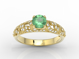 Engagement ring 14ct yellow gold, with emerald & cubic zirconias  BP-50Z-C
