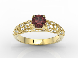 Engagement ring 14ct yellow gold, with garnet & cubic zirconias  BP-50Z-C