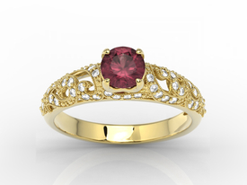 Engagement ring 14ct yellow gold, with ruby & cubic zirconias  BP-50Z-C