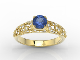 Engagement ring 14ct yellow gold, with sapphire & cubic zirconias  BP-50Z-C