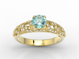 Engagement ring 14ct yellow gold, with topaz & cubic zirconias  BP-50Z-C