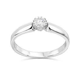 Engagement white gold ring with diamond 0,16ct BP-2116B