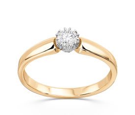 Engagement yellow & white gold ring with diamond 0,16ct BP-2116ZB