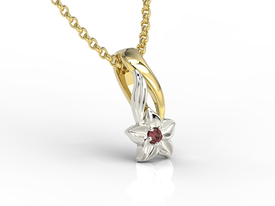 Garnet 14 ct yellow & white gold pendant BPW-15ZB
