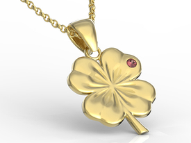 Garnet, 14ct gold pendant in the shape of a clover BP-19Z