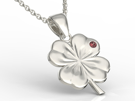 Garnet, 14ct white gold pendant in the shape of a clover BP-19B