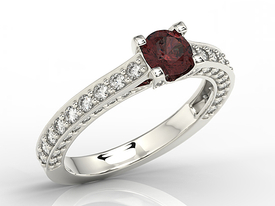 Garnet, 14ct white gold ring with cubic zirconia LP-16B