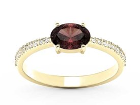 Garnet 14ct yellow gold ring with cubic zirconias BP-58Z-R-C