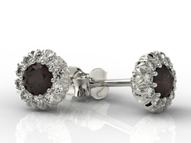 Garnets 14ct white gold earrings with cubic zirconias APK-42B-C