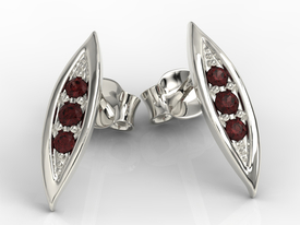 Garnets, 14ct white gold errings APK-97B
